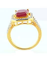 GOLD PLATED RING JEWELRY WITH RUBY LOOK RED STONE & CZ STONES