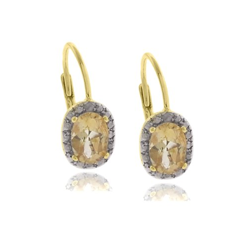 18k Gold Overlay Diamond Accent Citrine November Birthstone Leverback Earrings