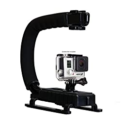 Opteka X-GRIP Professional Action Stabilizing Handle Specifically Made for GoPro HD Hero4, Hero3+ and Hero3 with Accessory Shoe for Flash, Mic, or Video Light (Black)