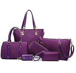 Itscosy Clutch Handbags for Women 6 Piece Set Bag Handbag and Purse (Model 5-purple)