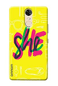 Omnam She Printed In Three Color With Yellow Base Printed Designer Back Cover Case For Lenovo K5 Note
