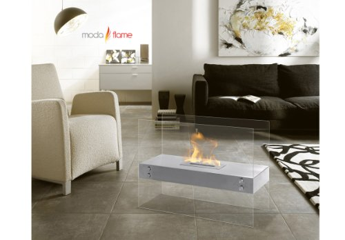 Moda Flame Avila Contemporary Ethanol Fireplace In White