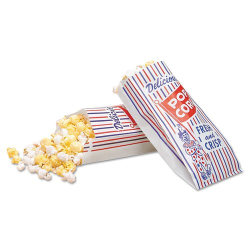 Bagcraft Papercon Pinch-Bottom Paper Popcorn Bag, 4w x 1-1/2d x 8h, Blue/Red/White - Includes 1000 per case. (Red And White Popcorn Bags compare prices)