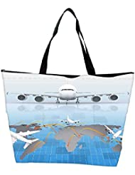 Snoogg Airplane Around The World Waterproof Bag Made Of High Strength Nylon