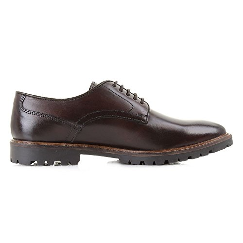 Base London Mens Barrage Washed Derby Brown Leather Shoes 44 EU
