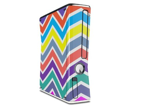 Zig Zag Colors 04 Decal Style Skin for XBOX 360 Slim Vertical microsoft xbox 360 hd dvd skin new ice blue system skins faceplate decal mod