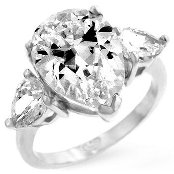 WOMEN'S RINGS STERLING SILVER & VERMEIL W/CLEAR CZ - Pear Shaped Anniversary