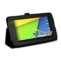 i-Beans(TM) 豪華3点セット Google 第2世代 Nexus 7 用スタンドケース 軽量 薄型 合成皮革レザーケース 新型Nexus 7 2013年度版 カバー ブラック タッチペンホルダー付き PU Leather Case for The New Nexus 7 高品質光沢液晶保護フィルム+タッチペン(両用タイプ)付属【全11色】(5437-1)