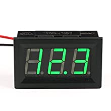 "DROK® Small Little DC Digital Voltmeter 2-Wire 0.56"" DC 3-30V Green Bright LED Car Motor Panel Mount Voltage Meter 5V 12V 24V 27V Solar Battery Volt Accurate Power Monitor Gauge"
