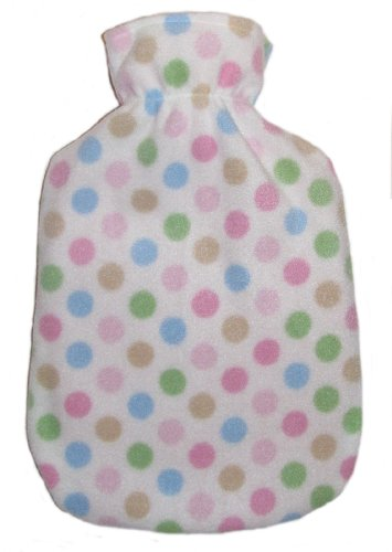 Warm Tradition Polka Dots Fleece Covered Hot Water Bottle - Bottle Made In Germany, Cover Made In Usa