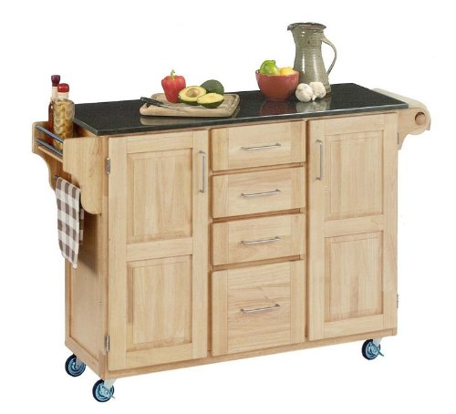 Cheap Kitchen Cart with Black Granite Top in Natural Finish (VF_HY-9100-1016)