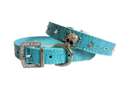 Pet Premium Skull Charm Studded Rhinestones Buckle Crocodile Leather Cat Dog Collar (Blue, M)