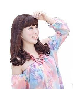 L-email 45cm Medium Dark chestnut brown fashion wave women cosplay costume wigs XFS31A
