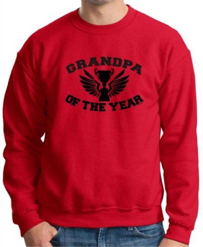 Grandpa Of The Year Crewneck Sweatshirt Medium Red