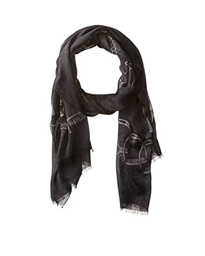 Gucci Men's Patterned Scarf, Charcoal