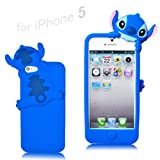 Disney Stitch Hide and Seek Silicone Case Cover for Iphone 5 - Blue