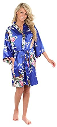 Anntourage Women's Kimono Robe, Peacock Design-Royal Blue-Small/Medium, Short