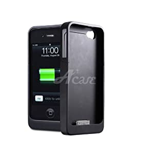 Acase(TM) Aegis Lite Slim-Profile Extended Rechargeable Battery Case for iPhone 4 (Black)