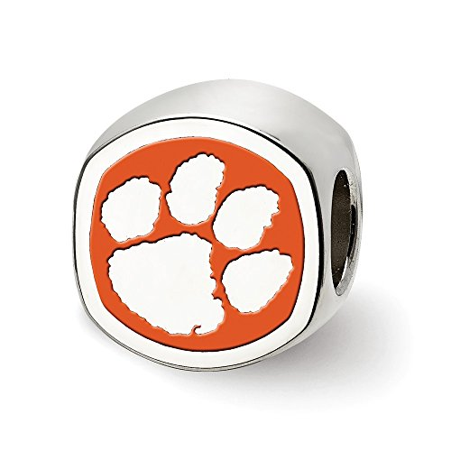 Sterling Silver LogoArt Official Licensed Collegiate Clemson University (CU) Cushion Shaped Logo Bead