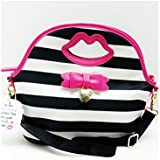 Betsey Johnson Insulated Lunch Tote Black White Stripe With Pink Lips And Bow