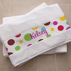 Personalized Cotton Bath Towels - Polka Dot Design front-949182