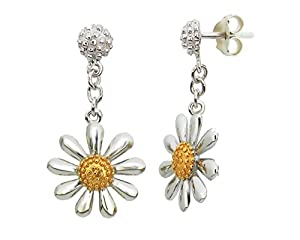 Silver Daisy Drop Earrings, with a 13mm daisy and gold vermeil centres.