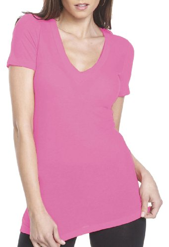 Next Level The Deep V 3540 - Hot Pink_S