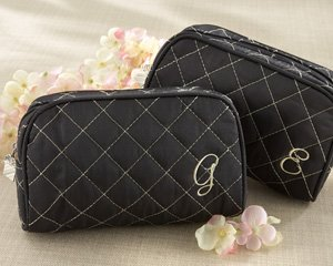 """Cosmetic Couture"" Quilted, Monogrammed Make-Up Bag – Baby Shower Gifts & Wedding Favors"