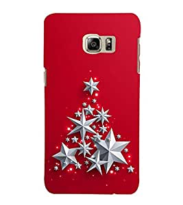 SILVER STARS IN A RED BACK GROUND 3D Hard Polycarbonate Designer Back Case Cover for Samsung Galaxy Note 5 Edge
