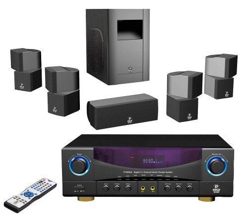 Pyle Home PT598AS 5.1Channel 350Watt Home Theater Receiver Surround Sound Package with Subwoofer/Center and 4 Satellite Speakers Picture