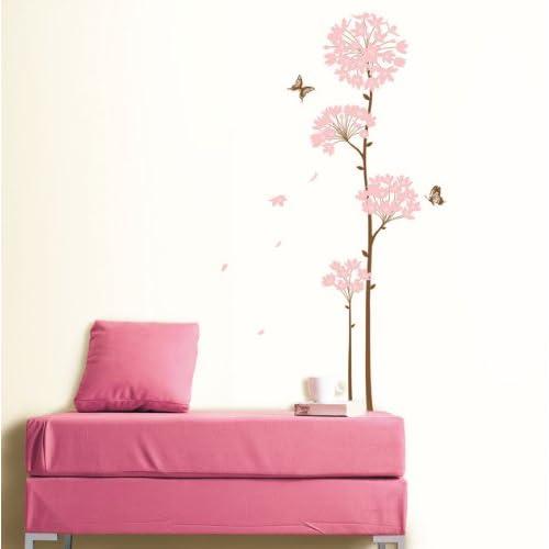 Modern House Pink Long Stem Bloom Flower removable Vinyl Mural Art Wall Sticker Decal