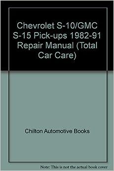 Chevrolet S-10 Free Workshop and Repair Manuals
