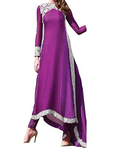 Ashlen Women's Lace Adornment Long Sleeve Muslim Abayas Maxi Long Dress Purple XL