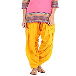 DNK Women's Cotton Patiala Salwar (DNK_0004_Yellow_Free size)