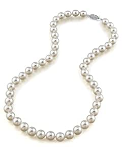 "14K Gold 8.5-9.0mm Hanadama Akoya White Cultured Pearl Necklace, 18"" Princess Length"