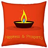 12X12 Orange Colourful Diya Printed Polyester Cushion With Filler Diwali Home Decor Festive Memories Diwali Christmas...