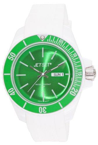 Jet Set - J83491-18 - Bubble - Montre Mixte - Quartz Analogique - Cadran Vert - Bracelet Caoutchouc Blanc