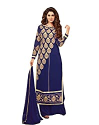 Amyra Women's Georgette Dress Material (AC794-06, Blue)