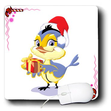 Edmond Hogge Jr Christmas - Christmas Bluebird With Gift and Candy Cane Background - MousePad (mp_61086_1)
