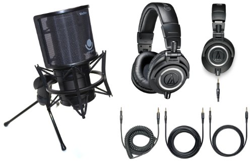Audio Technica Home/Project Studio Recording Bundle - At2020Usb+ Cardioid Condenser Usb Microphone And Premium Ath-M50X Studio Headphones With Free Shock Mount And Pop Filter