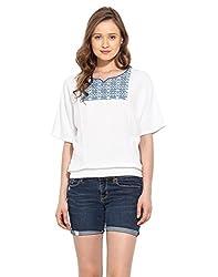 Saiesta Women's Off-White Boho Kimono Style Top