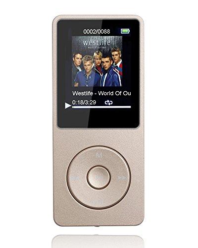 """Tabmart M01 IL lettore MP3 8 GB schermo 1,8"""" con Radio e registratore, Il tempo di riproduzione è fino a 70 ore, Oro"""