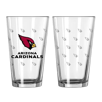 NFL Arizona Cardinals Satin Etch Pint Glass Set (Pack of 2), 16-Ounce