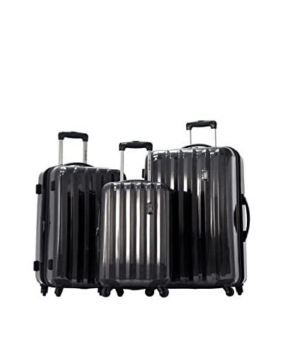 Olympia Luggage Titan 3 Piece Spinner Hardside Set, Black