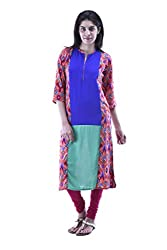 aarr Round Neck 3/4th Sleeves Casual Printed A-Line Kurta For Women