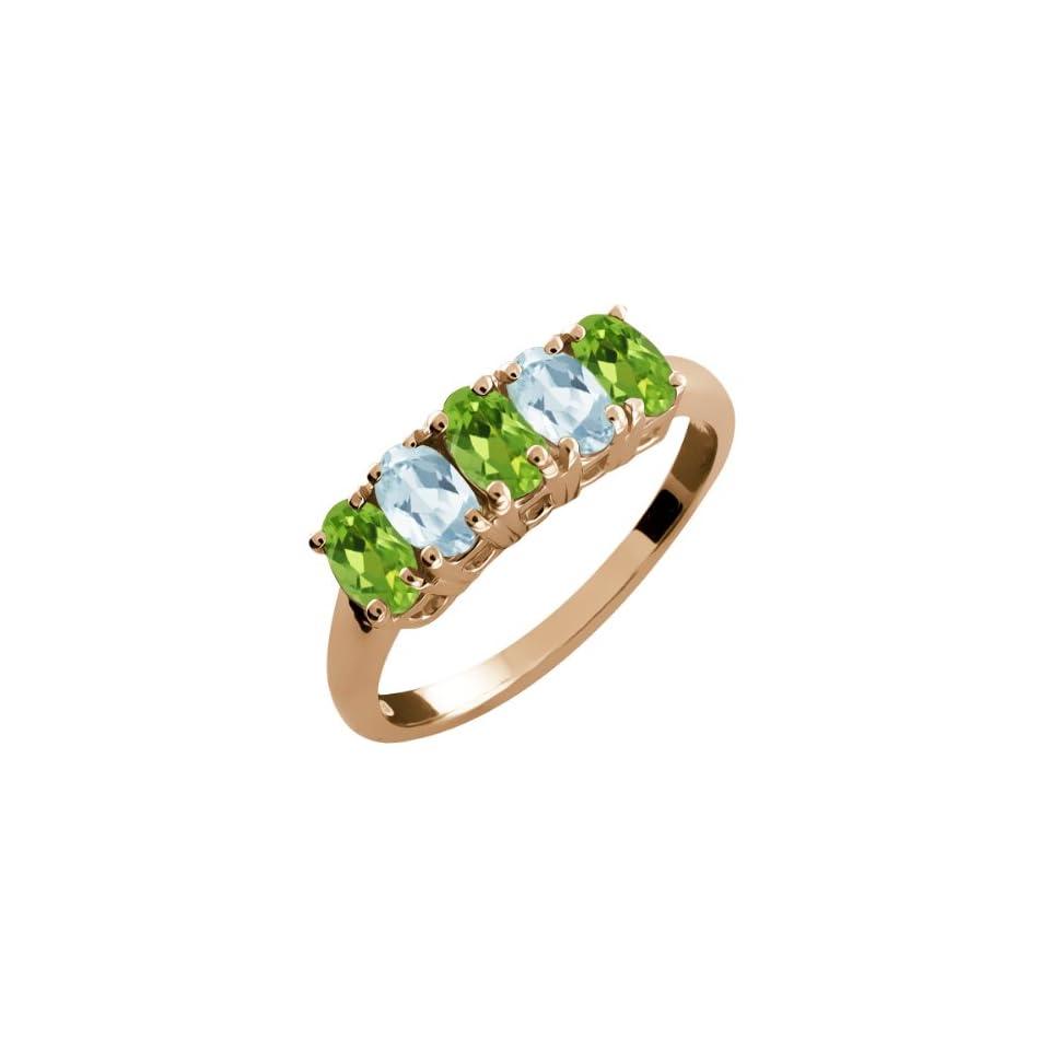 2.36 Ct Oval Green Peridot and Sky Blue Aquamarine 14k Rose Gold Ring
