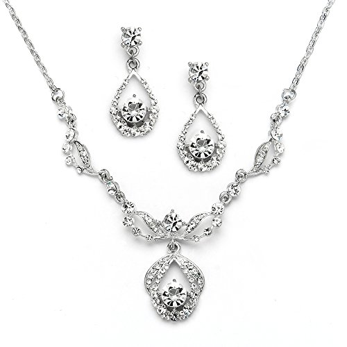 Mariell Vintage Crystal Necklace and Earrings Set - Retro Glamour for Bridal, Bridesmaids & Formal Wear