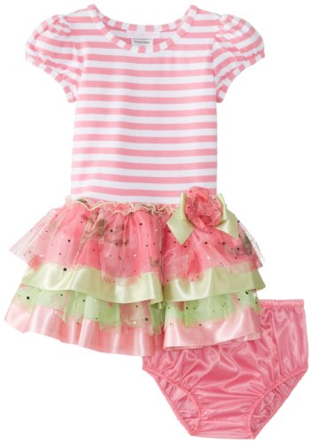 Bonnie Baby Baby-Girls Infant Stripe Knit To Multi Tiered Skirt, Pink, 24 Months front-970660