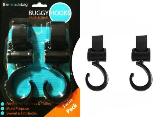 THE MIRACLE BAG - BUGGY PUSHCHAIR STROLLER HOOKS - TWIN PACK - 1