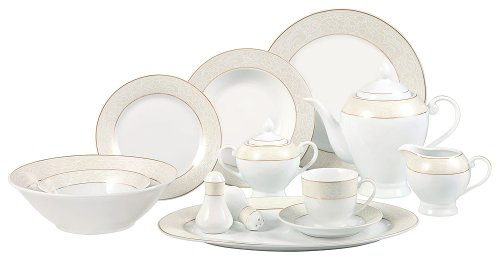 Lorenzo Import OrchidGD 57-Piece Porcelain Dinnerware